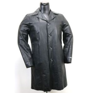 Diesel Women's Long Coat Size Medium Leather Black